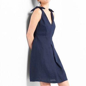 Gap Sleeveless Tie Shoulder Dress in Linen